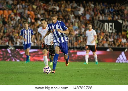 VALENCIA, SPAIN - SEPTEMBER 22nd: Deyverson with ball during Spanish soccer league match between Valencia CF and Deportivo Alaves at Mestalla Stadium on September 22, 2016 in Valencia, Spain