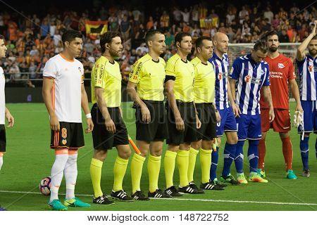 VALENCIA, SPAIN - SEPTEMBER 22nd: Spanish soccer league match between Valencia CF and Deportivo Alaves at Mestalla Stadium on September 22, 2016 in Valencia, Spain