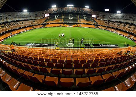 VALENCIA, SPAIN - SEPTEMBER 22nd: Mestalla Stadium during Spanish soccer league match between Valencia CF and Deportivo Alavess on September 22, 2016 in Valencia, Spain