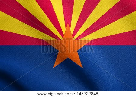 Arizonian official flag symbol. American patriotic element. USA banner. United States of America background. Flag of the US state of Arizona waving in the wind with detailed fabric texture, illustration