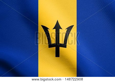Barbadian national official flag. Patriotic symbol banner element background. Flag of Barbados waving in the wind with detailed fabric texture, illustration