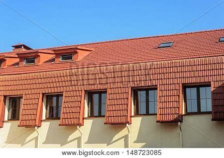New tiled roof of house in Trinity Suburb old part of Minsk Belarus