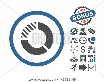 Pie Chart pictograph with bonus design elements. Vector illustration style is flat iconic bicolor symbols, cobalt and gray colors, white background.