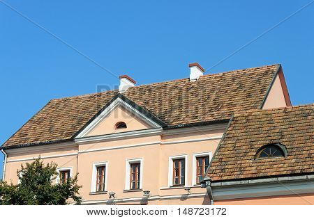 Old tiled roofs of houses in Trinity Suburb old part of Minsk Belarus