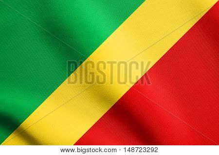 Congo Republic national official flag. African patriotic symbol banner element background. Flag of Republic of the Congo waving in the wind with detailed fabric texture, illustration