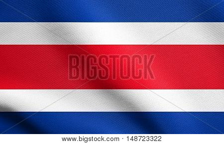 Costa Rican national official flag. Patriotic symbol banner element background. Flag of Costa Rica waving in the wind with detailed fabric texture, illustration