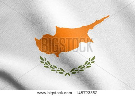 Cypriot national official flag. Patriotic symbol banner element background. Flag of Cyprus waving in the wind with detailed fabric texture, illustration