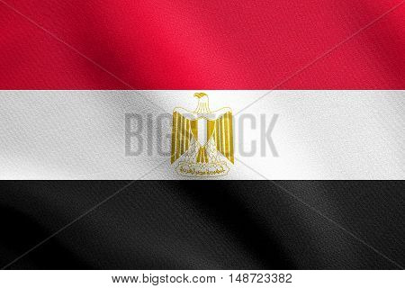 Egyptian national official flag. Arab Republic of Egypt patriotic symbol banner element background. Flag of Egypt waving in the wind with detailed fabric texture, illustration