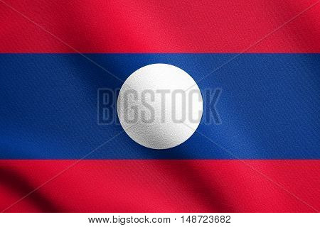 Laotian national official flag. Patriotic symbol banner element background. Flag of Laos waving in the wind with detailed fabric texture, illustration