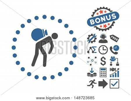 Porter icon with bonus design elements. Vector illustration style is flat iconic bicolor symbols, cobalt and gray colors, white background.