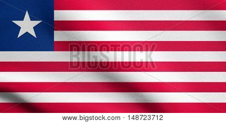 Liberian national official flag. African patriotic symbol banner element background. Flag of Liberia waving in the wind with detailed fabric texture, illustration
