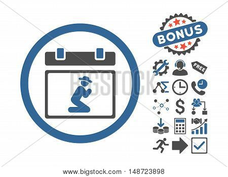 Pray Date icon with bonus icon set. Vector illustration style is flat iconic bicolor symbols, cobalt and gray colors, white background.