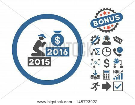 Pray for Money 2016 pictograph with bonus symbols. Vector illustration style is flat iconic bicolor symbols, cobalt and gray colors, white background.