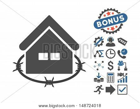 Prison Building pictograph with bonus elements. Vector illustration style is flat iconic bicolor symbols, cobalt and gray colors, white background.