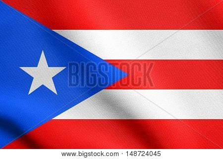 Puerto Rican national official flag. Patriotic symbol banner element background. Flag of Puerto Rico waving in the wind with detailed fabric texture, illustration