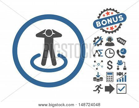 Prisoner icon with bonus design elements. Vector illustration style is flat iconic bicolor symbols, cobalt and gray colors, white background.