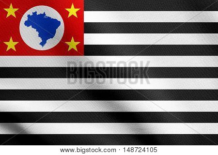 Brazilian state of Sao Paulo official flag symbol. Brasil banner background. Federative Republic of Brazil patriotic element. Flag of Sao Paulo waving in the wind with detailed fabric texture, illustration