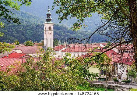 View of Church in Kobarid (Caporetto) in Slovenia