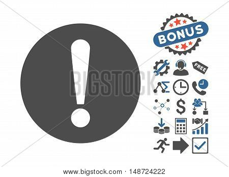 Problem pictograph with bonus clip art. Vector illustration style is flat iconic bicolor symbols, cobalt and gray colors, white background.