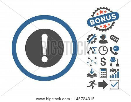 Problem icon with bonus pictures. Vector illustration style is flat iconic bicolor symbols, cobalt and gray colors, white background.
