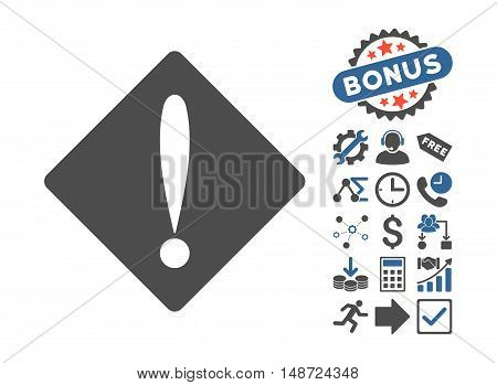 Problem icon with bonus images. Vector illustration style is flat iconic bicolor symbols, cobalt and gray colors, white background.