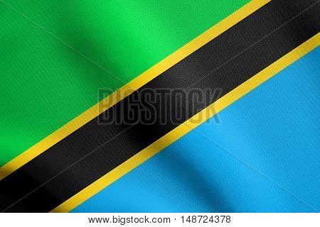 Tanzanian national official flag. African patriotic symbol banner element background. Flag of Tanzania waving in the wind with detailed fabric texture, illustration