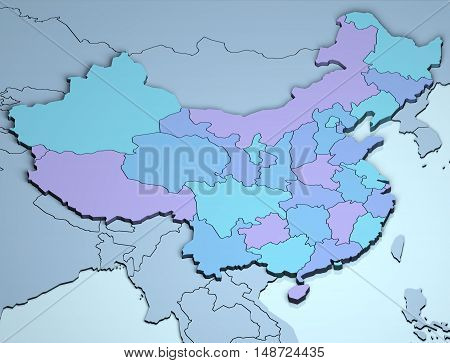 China 3D asia country illustration geographical location land