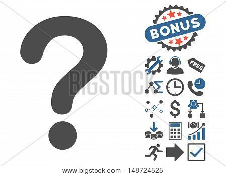 Question icon with bonus clip art. Vector illustration style is flat iconic bicolor symbols, cobalt and gray colors, white background.