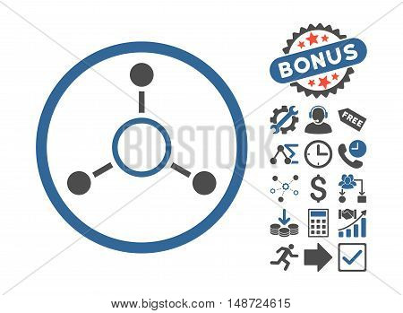 Radial Structure icon with bonus pictures. Vector illustration style is flat iconic bicolor symbols, cobalt and gray colors, white background.