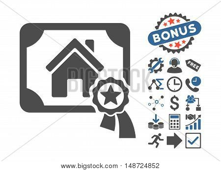 Realty Certification icon with bonus elements. Vector illustration style is flat iconic bicolor symbols, cobalt and gray colors, white background.