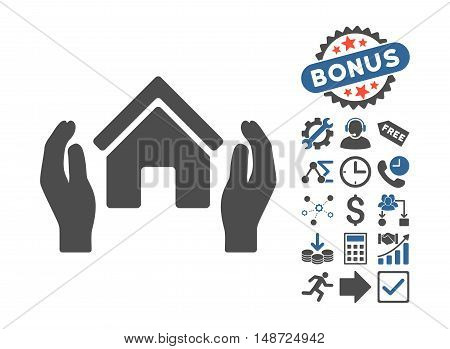 Realty Insurance Hands pictograph with bonus images. Vector illustration style is flat iconic bicolor symbols, cobalt and gray colors, white background.