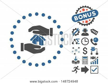 Realty Insurance icon with bonus symbols. Vector illustration style is flat iconic bicolor symbols, cobalt and gray colors, white background.