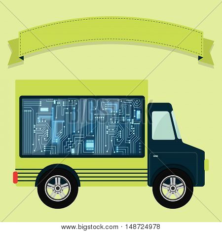 Chip electronic circuit shown in a showcase in the back of a truck. Ribbon to enter text. Concept.