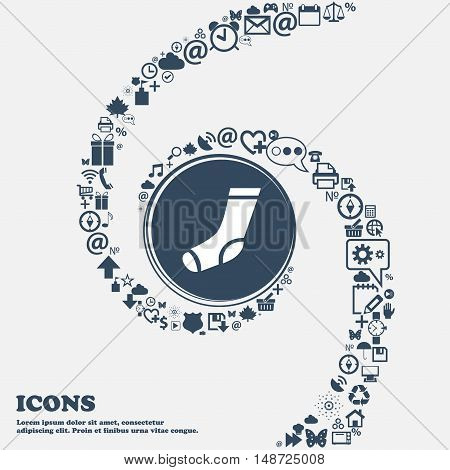 Socks Icon In The Center. Around The Many Beautiful Symbols Twisted In A Spiral. You Can Use Each Se