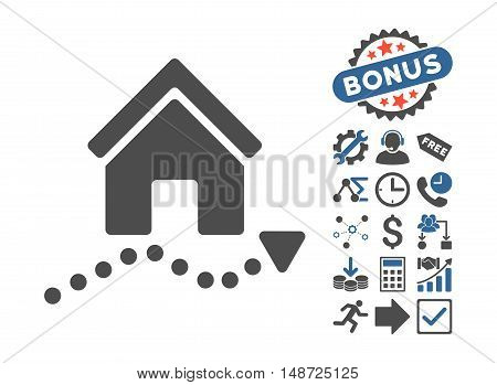 Realty Trend icon with bonus pictures. Vector illustration style is flat iconic bicolor symbols, cobalt and gray colors, white background.