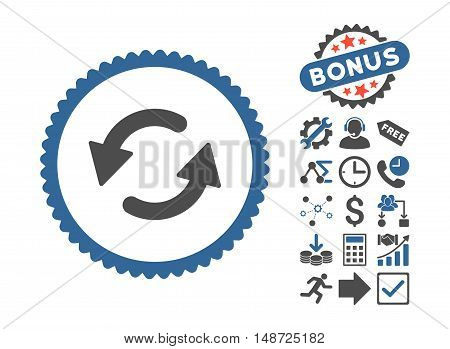 Refresh CCW pictograph with bonus pictograph collection. Vector illustration style is flat iconic bicolor symbols, cobalt and gray colors, white background.
