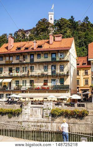 Ljubljana Slovenia- September 8 2014 View of Ljubljanica River with castle in background