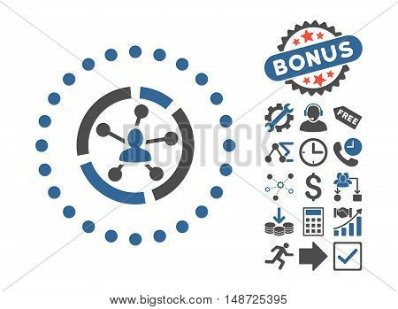 Relations Diagram icon with bonus pictogram. Vector illustration style is flat iconic bicolor symbols, cobalt and gray colors, white background.