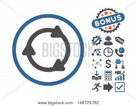 Rotate Back icon with bonus elements. Vector illustration style is flat iconic bicolor symbols, cobalt and gray colors, white background.