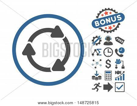 Rotate CW pictograph with bonus pictograph collection. Vector illustration style is flat iconic bicolor symbols, cobalt and gray colors, white background.