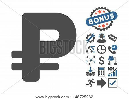 Rouble pictograph with bonus pictures. Vector illustration style is flat iconic bicolor symbols, cobalt and gray colors, white background.