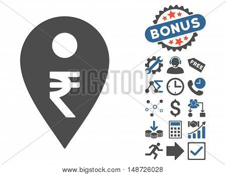 Rupee Map Marker icon with bonus design elements. Vector illustration style is flat iconic bicolor symbols, cobalt and gray colors, white background.