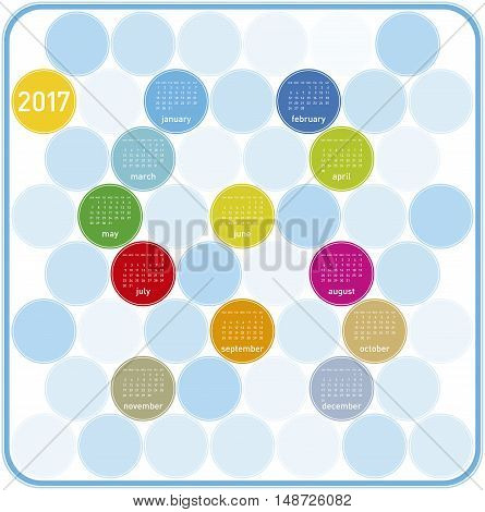 Colorful Calendar for year 2017 in a circles theme in vector format.