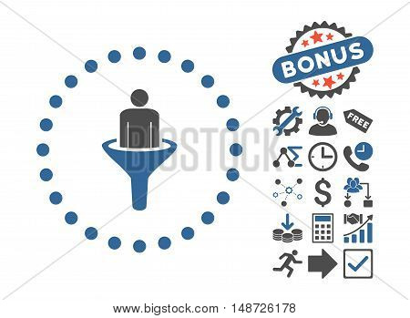 Sales Funnel icon with bonus symbols. Vector illustration style is flat iconic bicolor symbols, cobalt and gray colors, white background.
