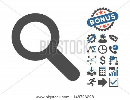 Search pictograph with bonus symbols. Vector illustration style is flat iconic bicolor symbols, cobalt and gray colors, white background.