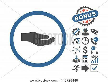 Share Hand pictograph with bonus pictures. Vector illustration style is flat iconic bicolor symbols, cobalt and gray colors, white background.