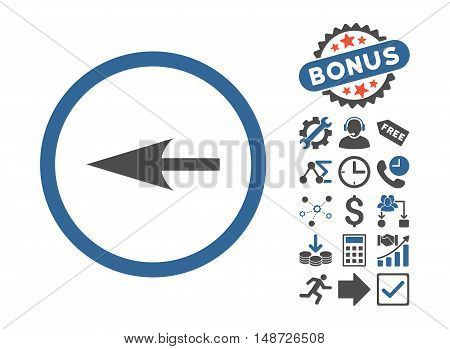 Sharp Left Arrow icon with bonus clip art. Vector illustration style is flat iconic bicolor symbols, cobalt and gray colors, white background.
