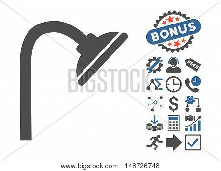 Shower Head pictograph with bonus images. Vector illustration style is flat iconic bicolor symbols, cobalt and gray colors, white background.
