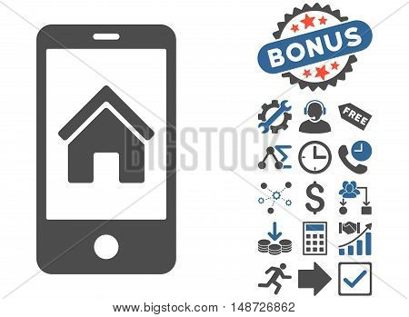 Smartphone Homepage icon with bonus pictogram. Vector illustration style is flat iconic bicolor symbols, cobalt and gray colors, white background.