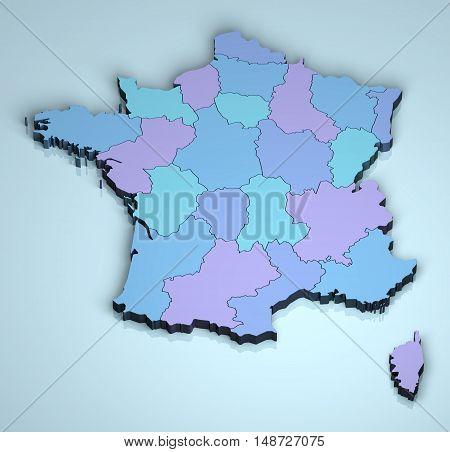 France 3D europe map provinces digital illustration